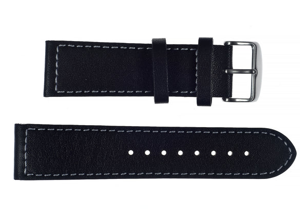 24mm MWC Branded Black Leather Watch Strap with Stainless Steel Fasteners
