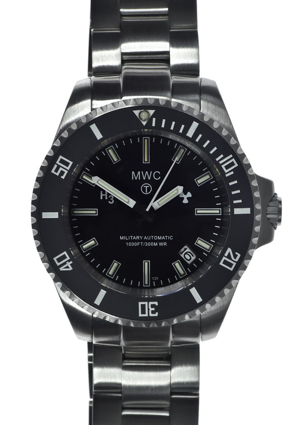 MWC 24 Jewel 300m Automatic Military Divers Watch on Bracelet with Tritium GTLS
