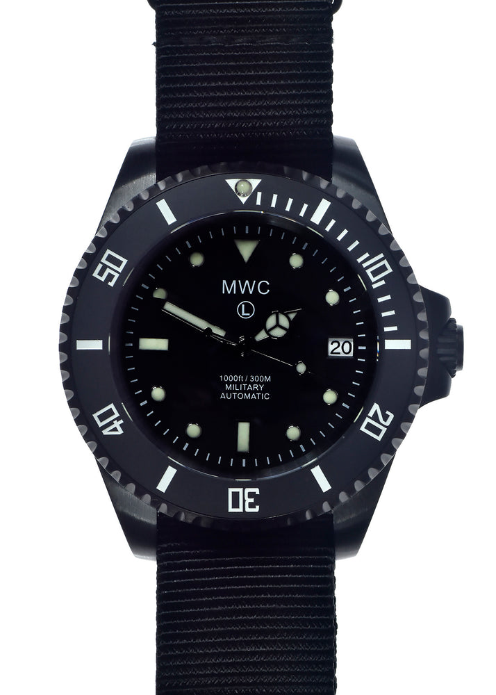 MWC 24 Jewel 300m Automatic Military Divers Watch in Black PVD Steel with Ceramic Bezel and Sapphire Crystal - May Need Pressure Testing