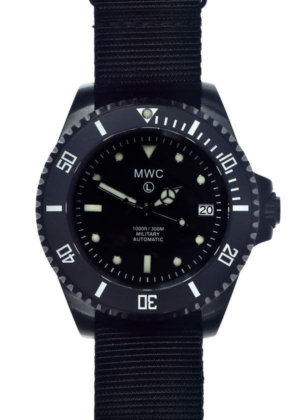 MWC 24 Jewel 300m Automatic Military Divers Watch in Black PVD Steel with Ceramic Bezel and Sapphire Crystal - Looks Very New May Need a Checkover but Running
