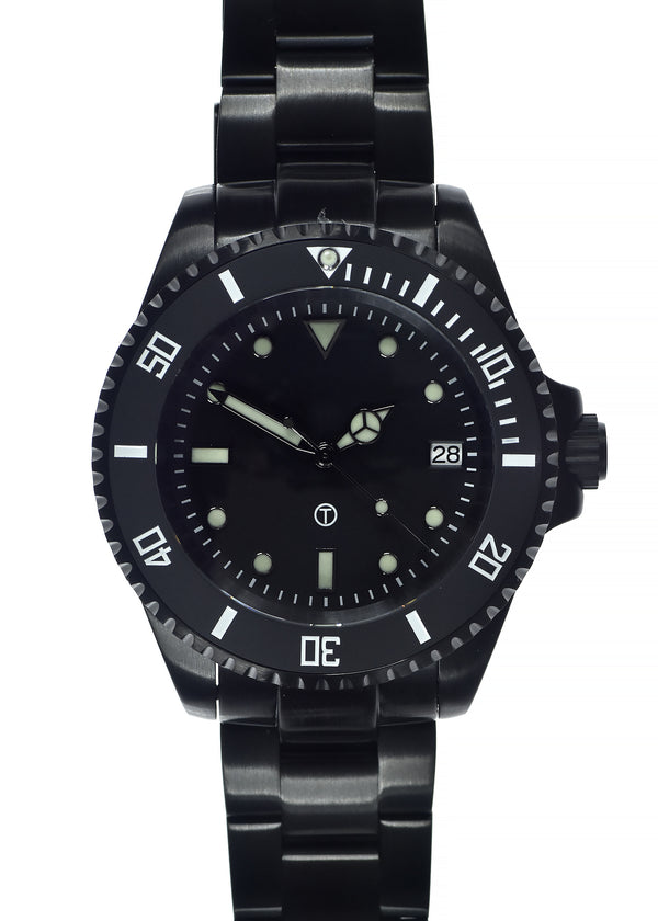 MWC 24 Jewel 300m Automatic Divers Watch with Ceramic Bezel and Sapphire Crystal on PVD Bracelet