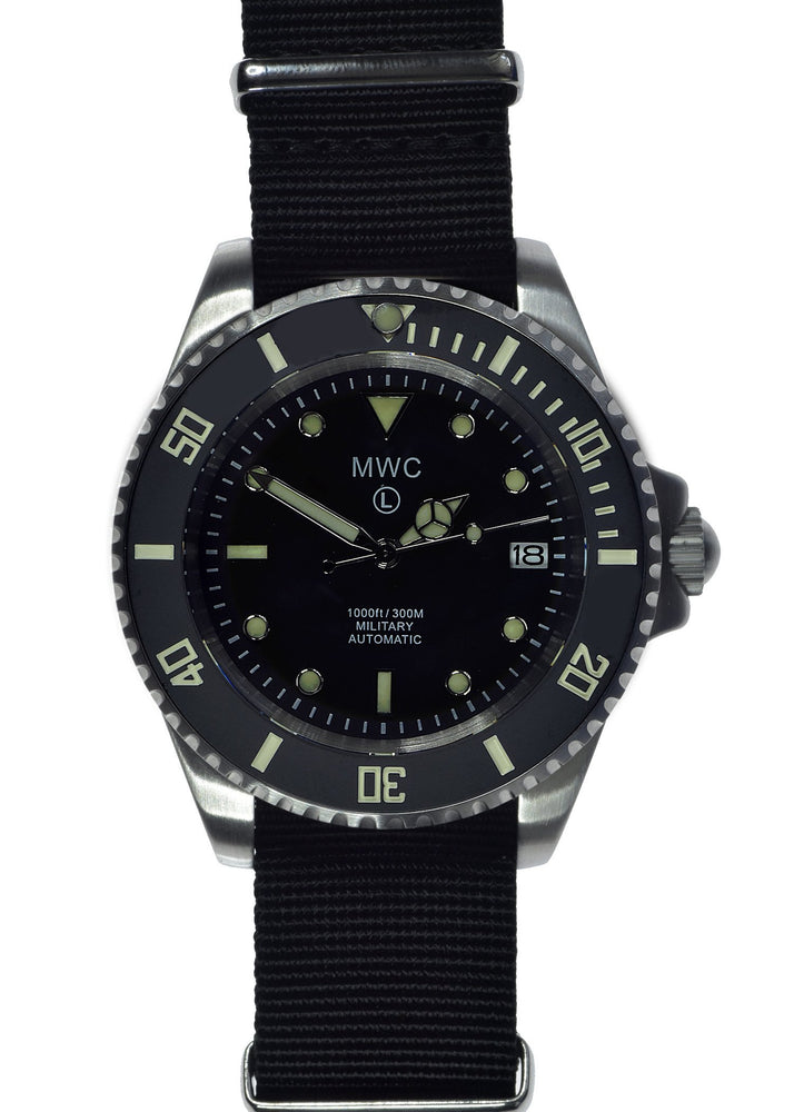 MWC 24 Jewel 300m Automatic Military Divers Watch with Sapphire Crystal and Ceramic Bezel on a NATO Webbing Strap