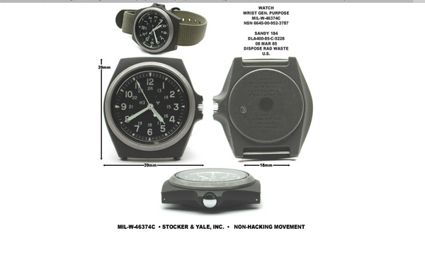 Military Industries Remake of the mid 1980s Pattern MIL-W-46374C U.S Pattern Military Watch in Matt Black