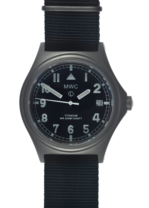 MWC Titanium General Service Watch, 300m Water Resistant, 10 Year Battery Life, Luminova, Sapphire Crystal and 12 Dial Format (Date Version)
