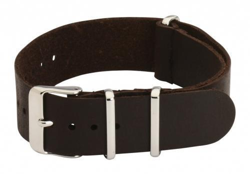 18mm Brown Leather NATO Military Watch Strap