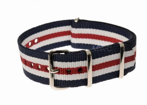 20mm Red, White and Blue NATO Military Watch Strap