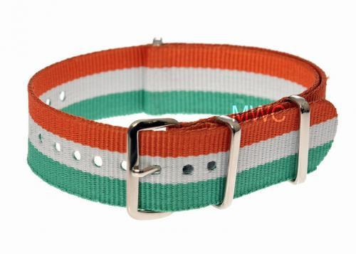 "20mm ""Red, White and Green"" NATO Military Watch Strap"