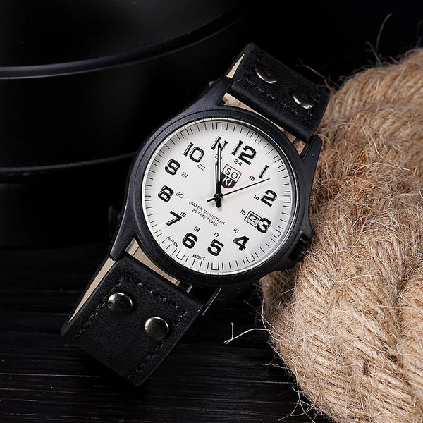 Vintage Mens Waterproof Date Leather Strap Sport Quartz Army Watch
