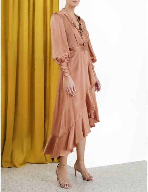 Silk Wrap Dress (Biscuit)