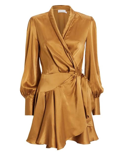 Silk Wrap Mini Dress Sandalwood