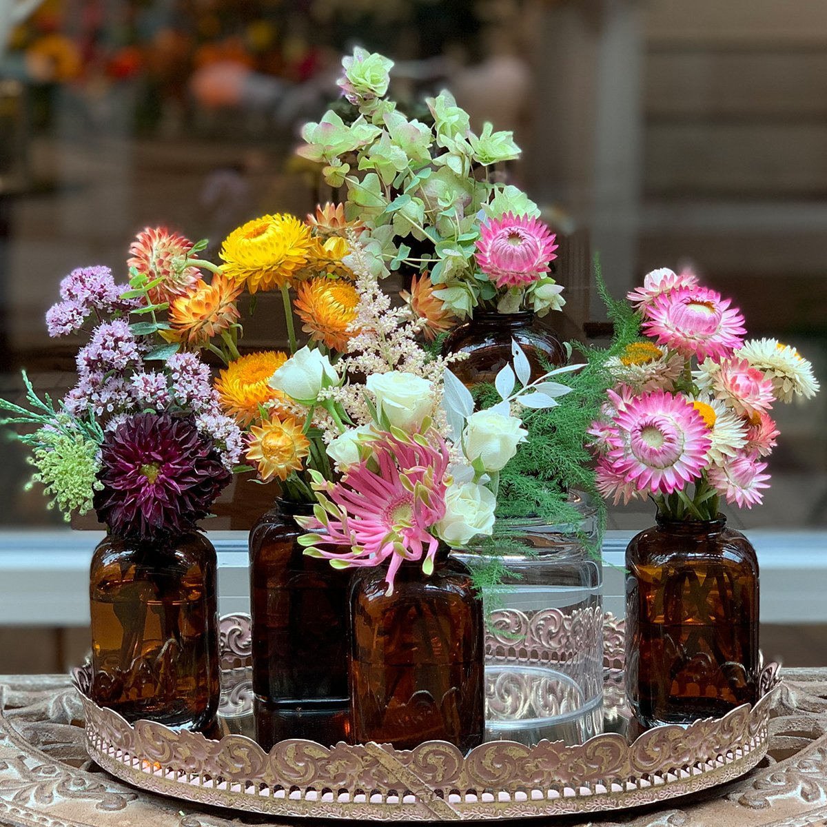 Antique Brown Vases w/ Coordinating Flowers (5 pieces)