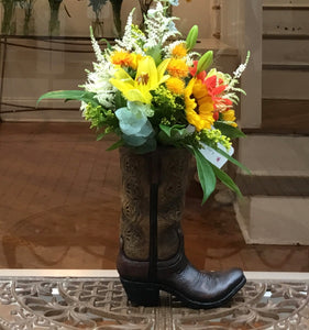 Bouquet of Sunshine Cowboy Boot