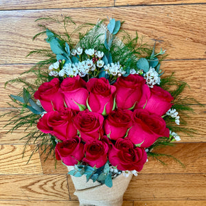 The Lily Wrap - Hot Pink Roses