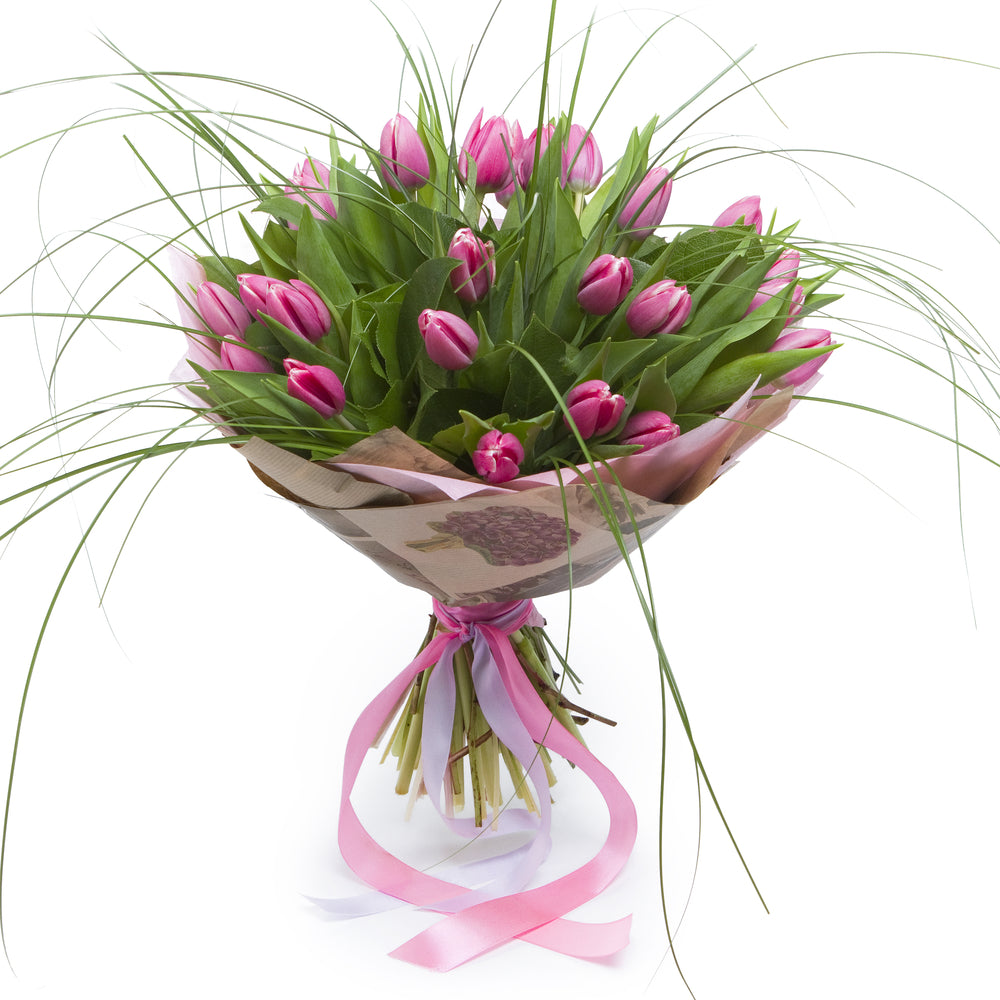 Lily Palmer Pink Tulips (2 Dozen) with Bear Grass