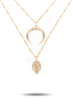 Layered Crescent Virgin Mary Necklace
