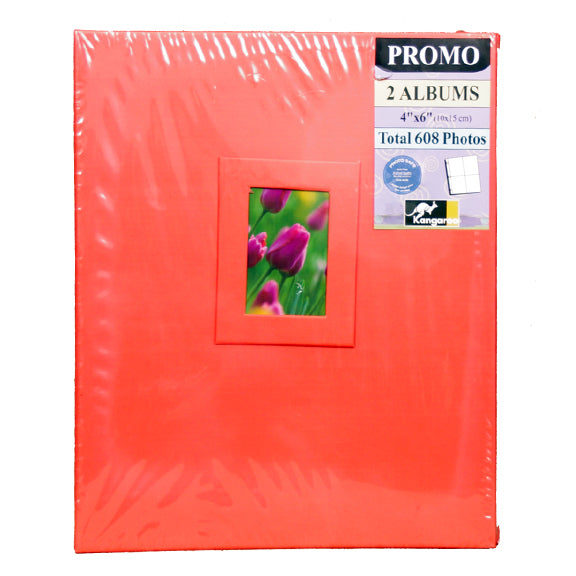 2 PACK RED PHOTO ALBUM HOLDS 608 PHOTOS