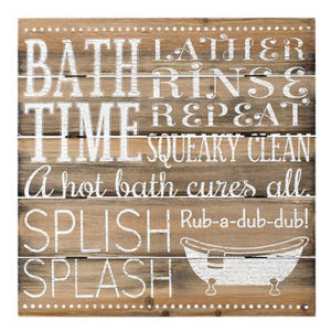 "SIGN ""BATHROOM RULES SPLISH SPLASH"" (12""X12"")"