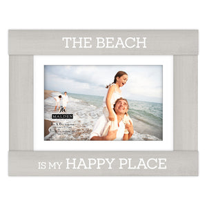 "5X7 GRAY WITH 4X6 WHITE MAT ""THE BEACH IS MY HAPPY PLACE"" FRAME"