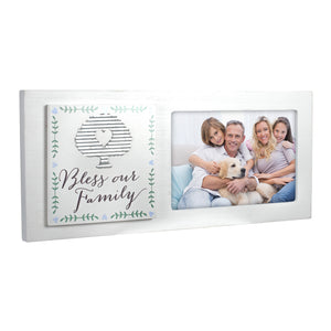 "4X6- ""BLESS OUR FAMILY"" WHITE WOOD FRAME"