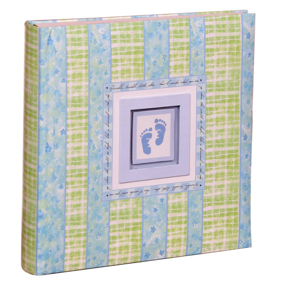 BABY BLUE FOOTPRINT PHOTO ALBUM HOLDS 200