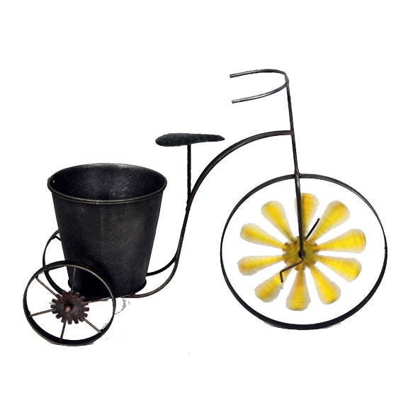 TRICYCLE SINGLE FLOWER POT W/YELLOW WINDMILL