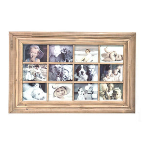 12 OPENING - 4X6  NATURAL WOOD COLLAGE FRAME