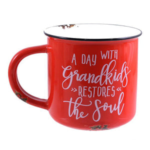 "14OZ RED MUG ""A DAY WITH GRANDKIDS"""
