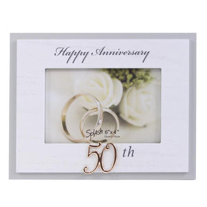 "4X6 ""HAPPY 50TH ANNIVERSARY"" WHITE WORD FRAME"
