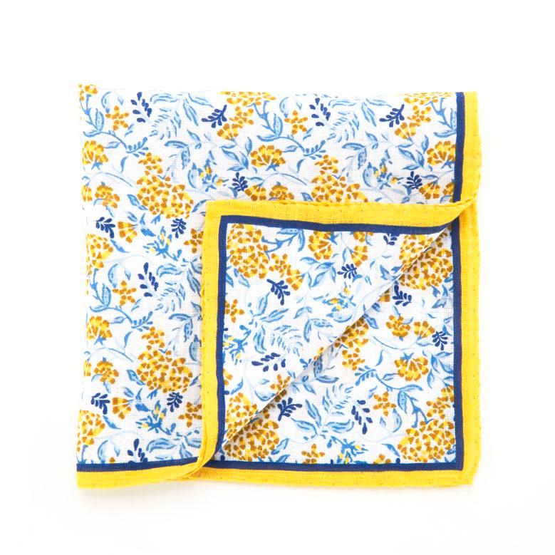 d750b7dbf3f4c Yellow and blue linen floral print pouch | F&B workshop
