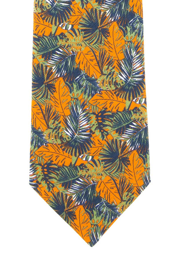 Cravate tons oranges motifs jungle en soie et coton