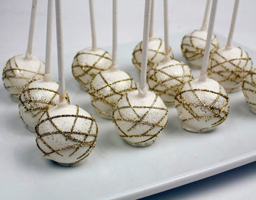 WHITE AND GOLD STRIPES CAKE POPS