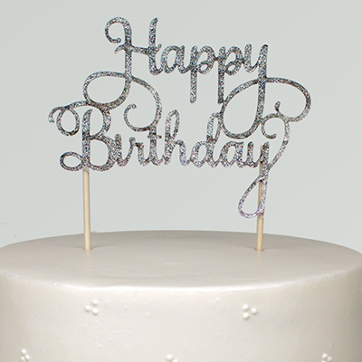 Happy Birthday Glitter Cake Topper - Silver