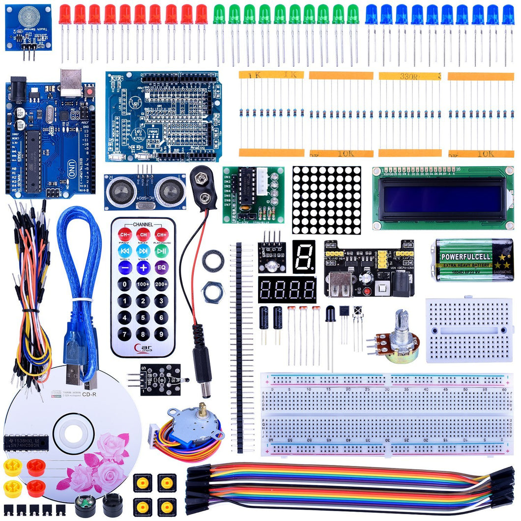 UNO R3 Project Super Starter Kit with Free Tutorial for Arduino,Complete Robotics Sensor Kit