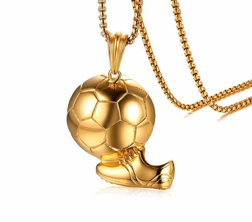 14K Gold Plated Soccer Pendant Chain
