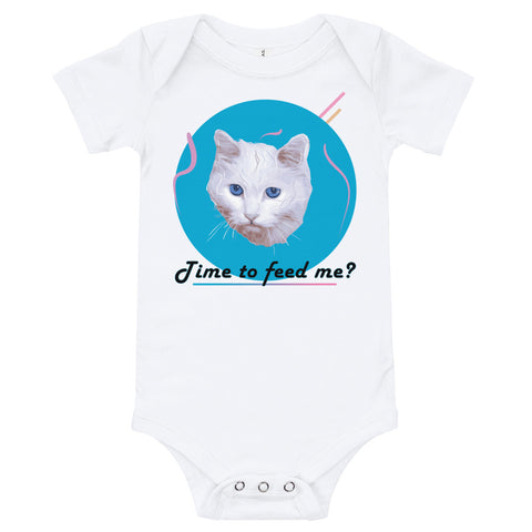"White baby bodysuit with a picture of a white cat and the words ""Time to feed me?"" under it."