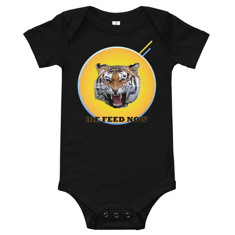 A black baby bodysuit with a picture of a roaring tiger in the middle.