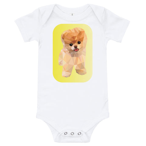 White baby bodysuit with a colourful puppy dog in the middle