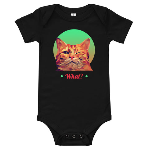 "A black baby bodysuit with a cat in low poly style design that winks in front. It has a green and red circle around its head, with the word ""What?"" under it, in red."