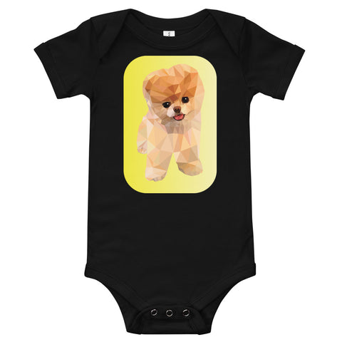 A black baby bodysuit with a small puppy made from polygon triangles in the middle.