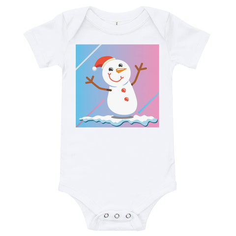 A white baby bodysuit with a happy snowman on a blue and pink background.
