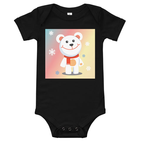 A black baby bodysuit with a white teddy bear standing among snowflakes, with a colourful background behind.
