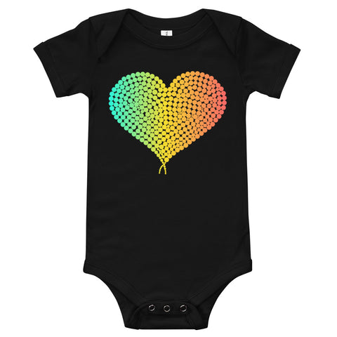 Black baby bodysuit with a colourful heart in the middle