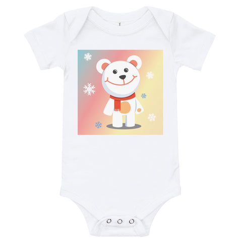 A white baby bodysuit with a white teddy bear standing among snowflakes, with a colourful background behind.