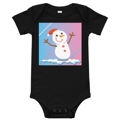 A black baby bodysuit with a happy snowman on a blue and pink background.