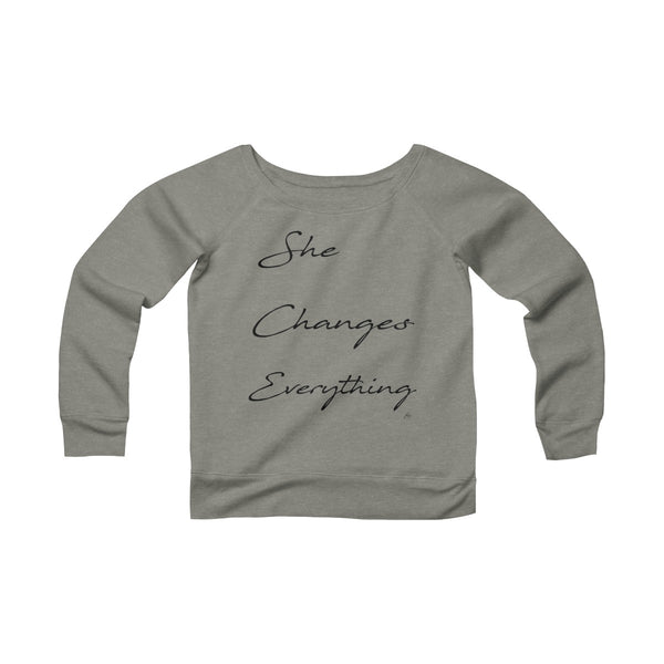 She Changes Everything Off The Shoulder Sweatshirt - Gray