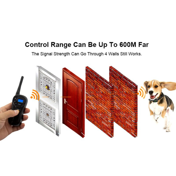 600m Electric Dog Training Collar Waterproof Dog Shock Training Collar Rechargeable Blind Operation - Dux Ducis
