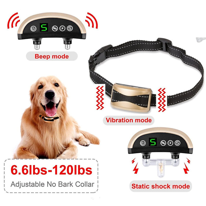 Waterproof Dog Training Collar Rechargeable Shock Electronic Anti Barking Collars For Dogs - Dux Ducis
