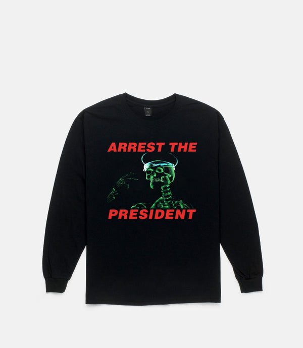 ARREST THE PRESIDENT L/S TEE - BLACK