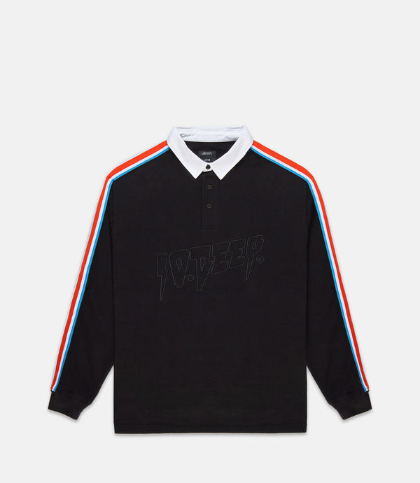 NOWHERE STRIPED RUGBY - BLACK
