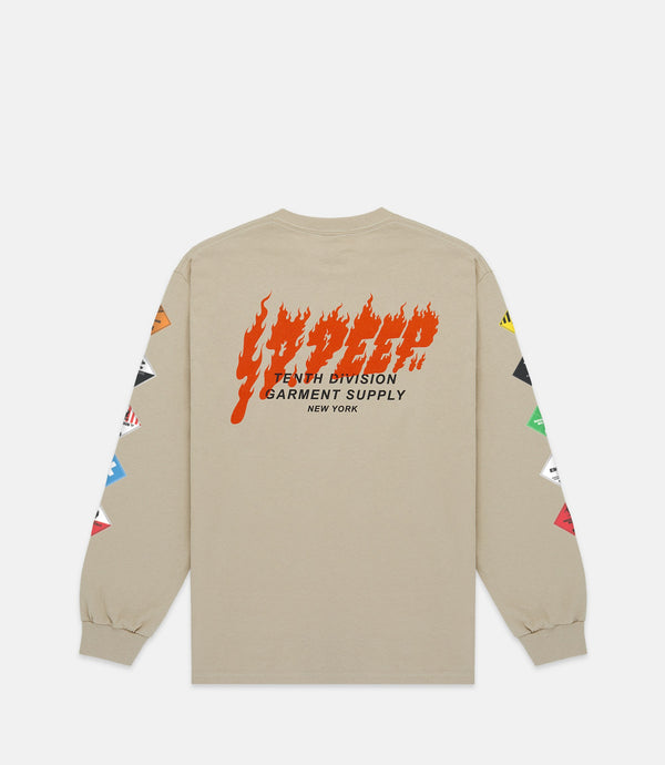 PROHIBITED LONG SLEEVE TEE - SAND